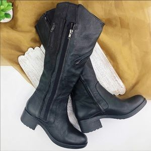 VERA WANG Evan Black Leather Boots Size 8